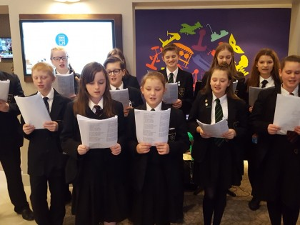 Choir sings at airport hotel